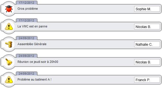 messagerie instantanée : liste de messages